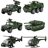 Hautton Diecast Military Toy Vehicles, 6 Pack Alloy Metal Army Toys Model Cars Playset Tank, Panzer, Attack Helicopter, Anti-