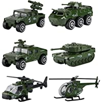 Hautton Diecast Military Toy Vehicles, 6 Pack Alloy Metal Army Toys Model Cars Playset Tank, Jeep, Panzer, Attack…