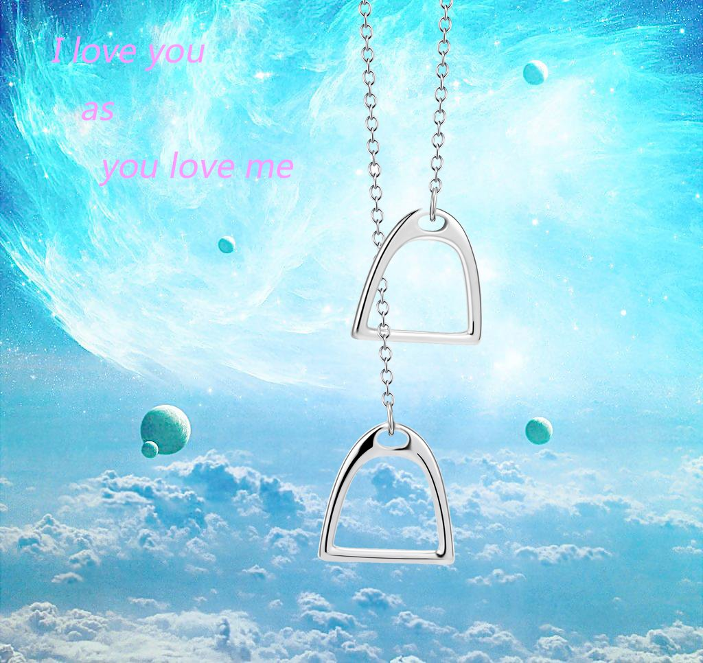 YFN Jewelry 925 Sterling Silver Simple Double Horse Stirrup Lariat Necklace Gift for Women Girls by YFN (Image #2)