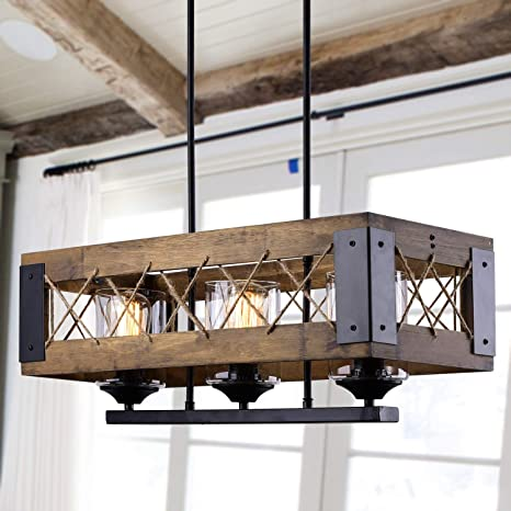 Laluz Chandeliers 3 Wooden Kitchen Island Pendant Lighting In Rustic Wood And Painted Black Metal Finish With Hemp Ropes Clear Glass Shades 3 Light