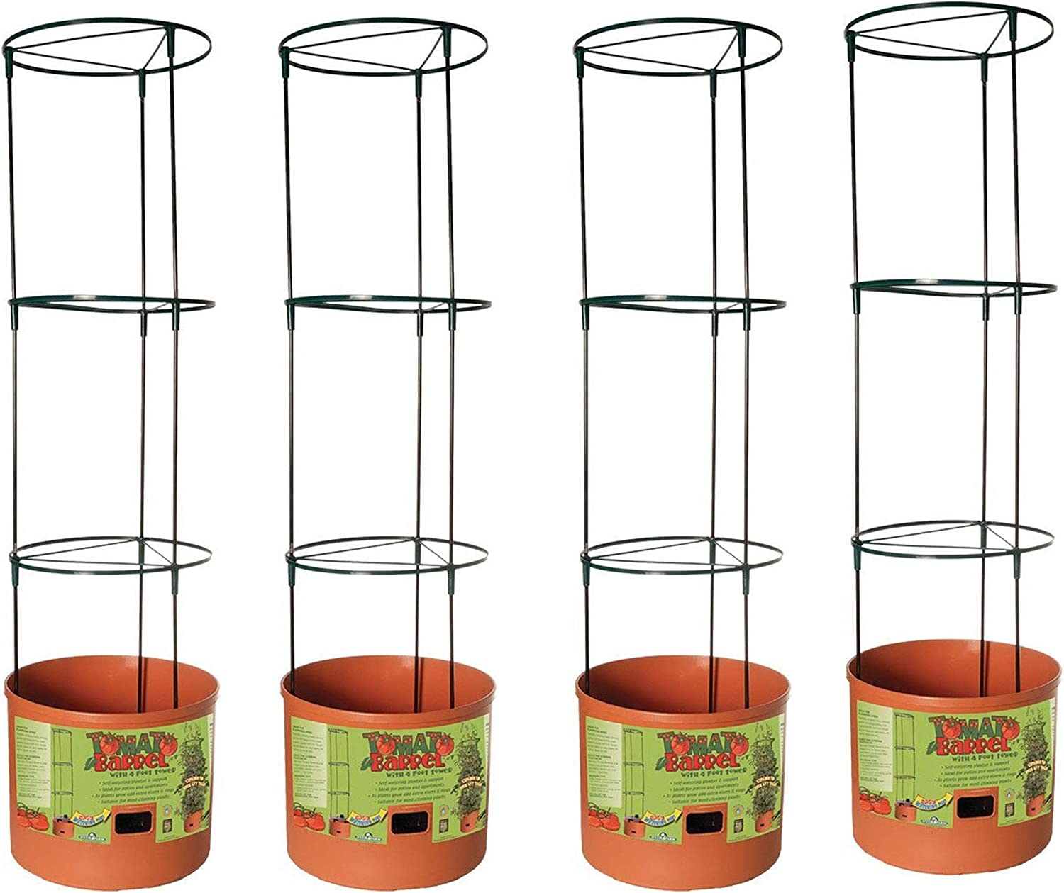 Hydrofarm Tomato Barrel Garden Planting System with 4 Ft Trellis Tower 4 Pack