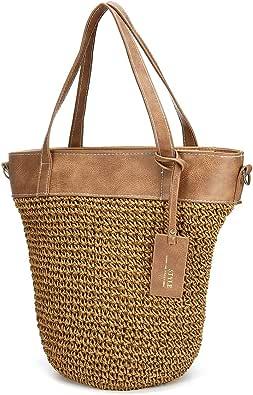 JOSEKO Straw Handbag for Women, Weaving Shoulder Bag Outdoor Casual Cross Body Bag Top Handle Satchel