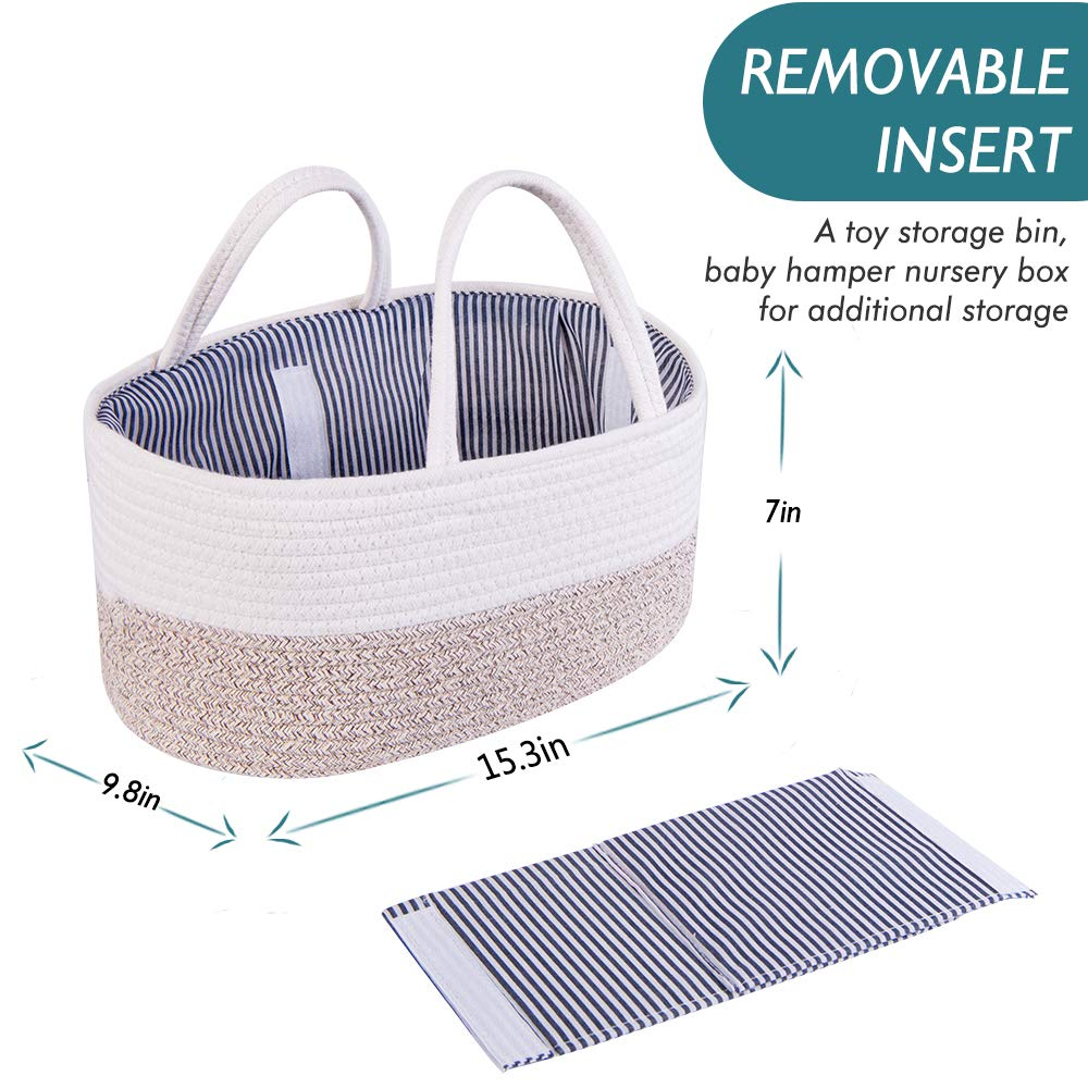 Baby Shower Gift Basket SIGNREE Cotton Rope Baby Diaper Caddy Organizer Portable Car Travel Organizer Nursery Diaper Tote Bag with Dividers for Diapers /& Wipes with Sturdy Handles Grey