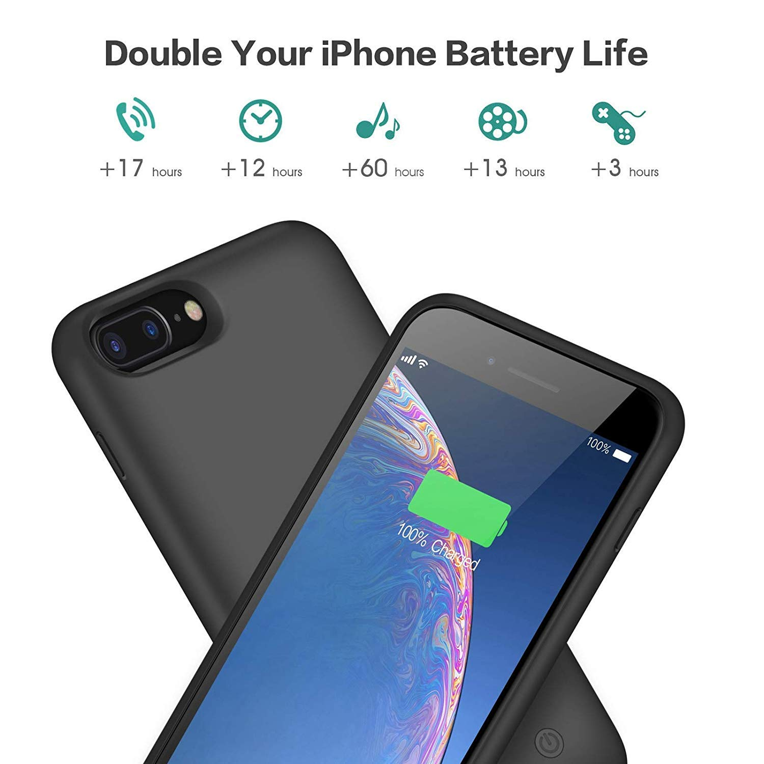 Battery Case for iPhone 8 Plus/7 Plus, [8500mAh] Xooparc Protective Portable Charging Case Rechargeable Extended Battery Pack for Apple iPhone 8 Plus&7 Plus (5.5') Backup Power Bank Cover - Black by Xooparc (Image #2)