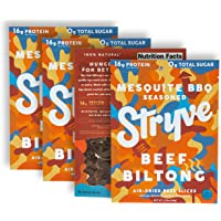 Stryve Biltong, Beef Jerky without the Junky. 16g Protein, Sugar Free, No Carbs, Gluten Free, No Nitrates, No MSG, No Preservatives. Keto and Paleo Friendly. Mesquite BBQ, 2.25oz 4-Pack