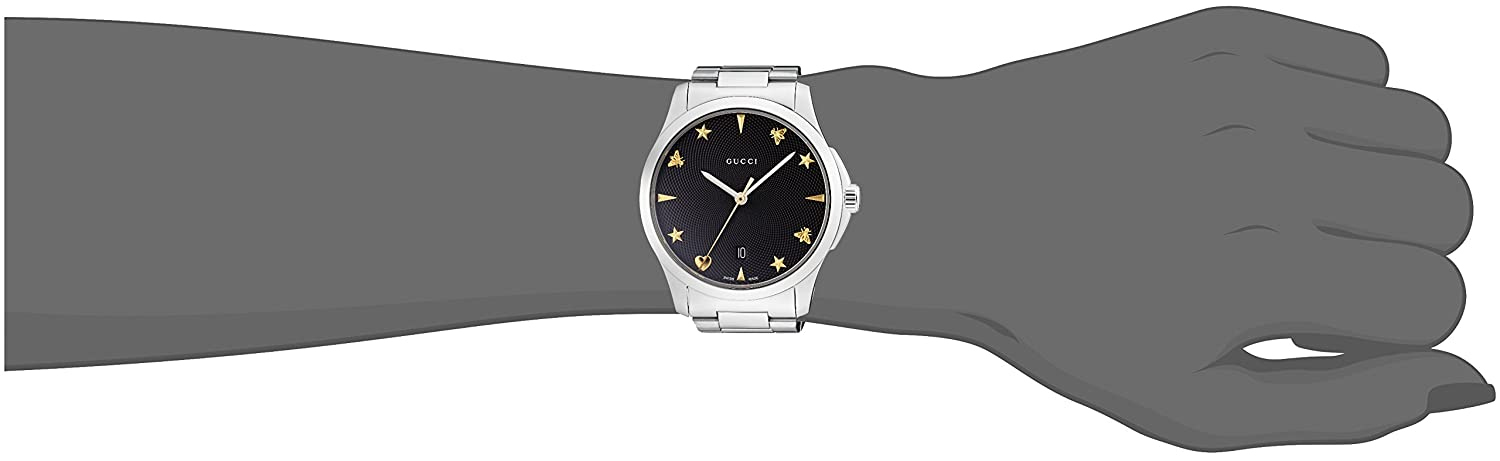 96bcb1d4a36 Amazon.com  Gucci Quartz Stainless Steel Casual Silver-Toned Women s Watch(Model   YA1264029)  Watches