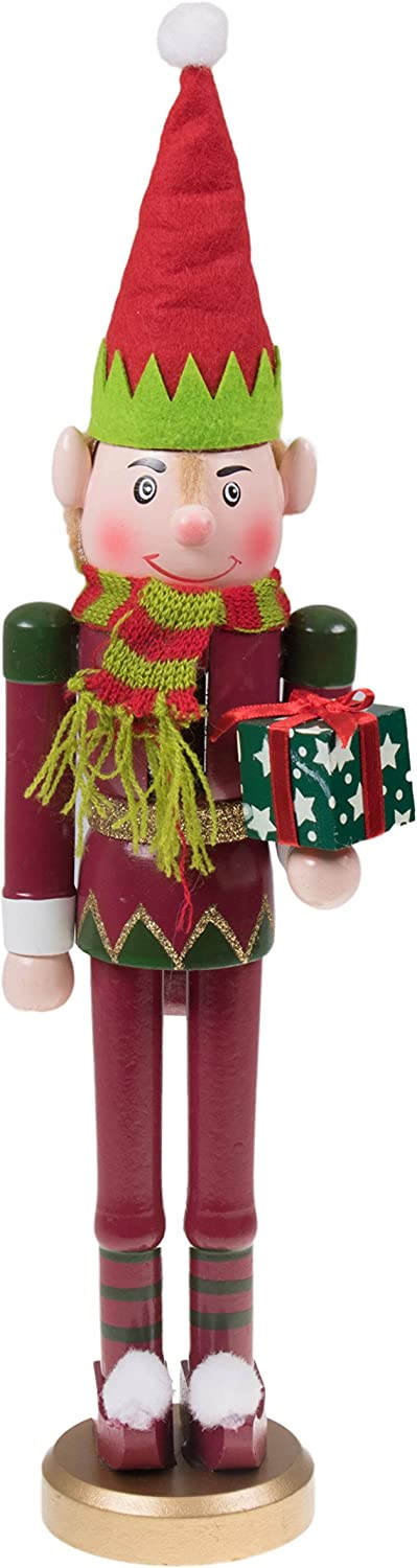 """Clever Creations Santa's Elf Christmas Nutcracker Traditional Wooden Nutcracker 