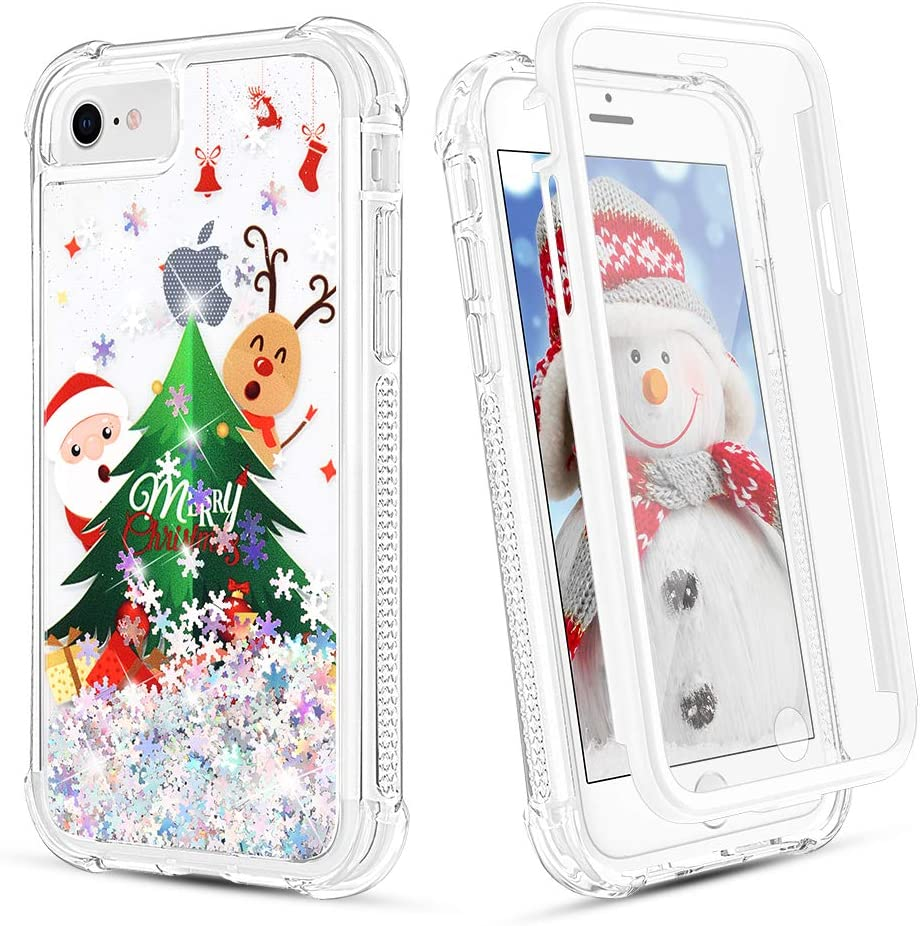 Ruky Christmas Case for iPhone 6 6s 7 8 SE 2020, Glitter Full Body Rugged with Built-in Screen Protector Shockproof Girls Women Children Christmas Case for iPhone 6/6s/7/8/SE 2020, Christmas Tree