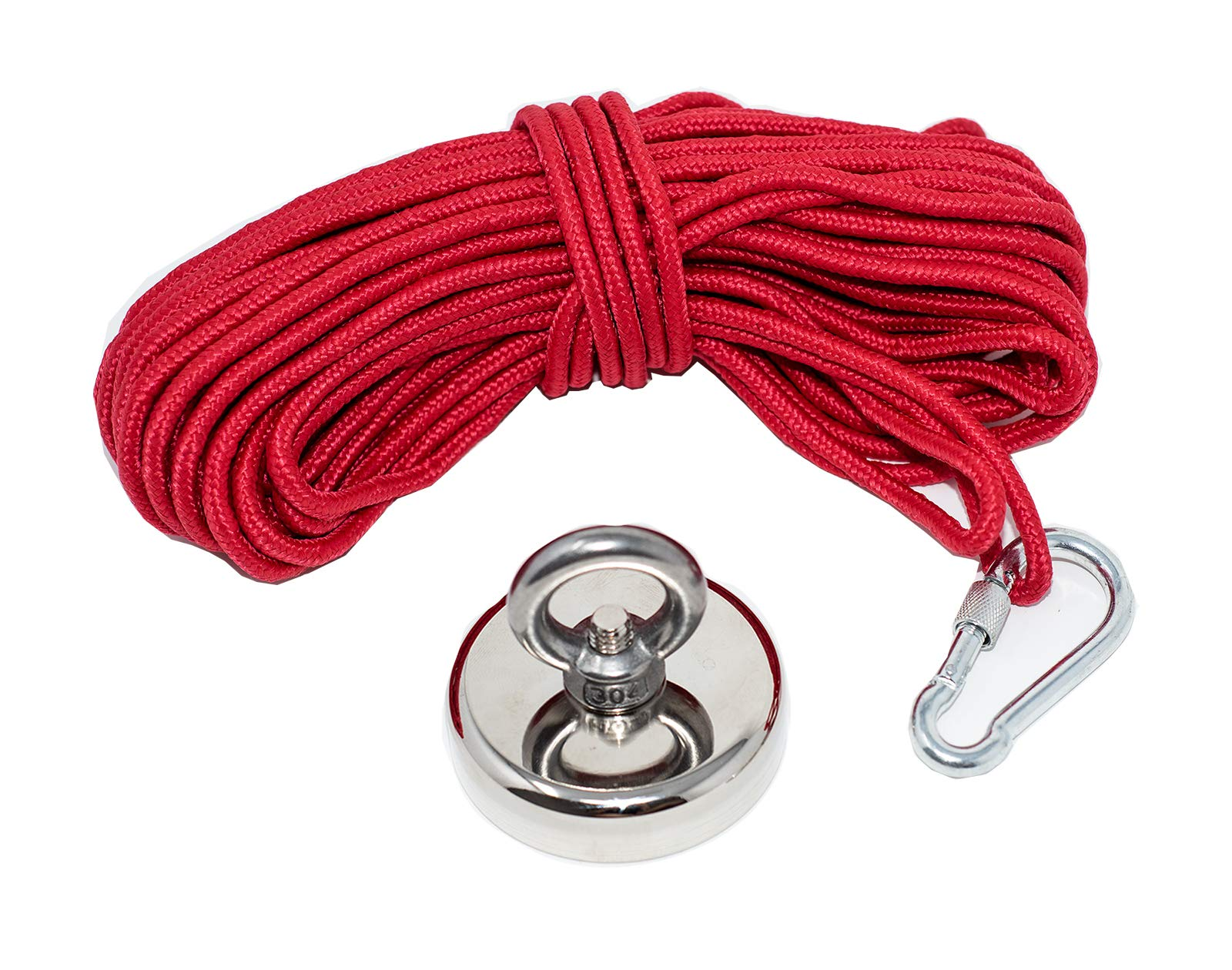 Fishing Magnets 350lbs Pull Force,Strong Retrieval Magnet N52 Neodymium Magnets with 20m(64 Foot) Durable Rope,Powerful Magnets for Fishing and Magnetic Recovery Salvage