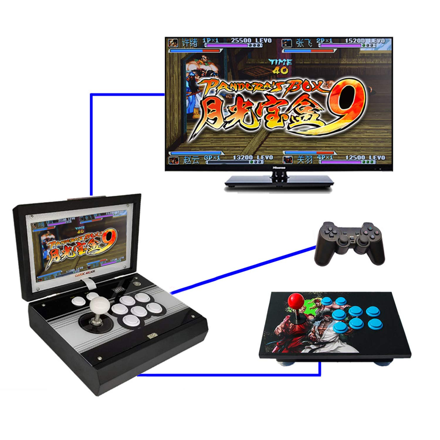 10.1 inch Portable Metal Casing Pandora 9 Arcade Video Game Console 1500 in 1 Retro Games Arcade 1280x720P HD Home Flip Single Player Game Machine by angkel (Image #2)