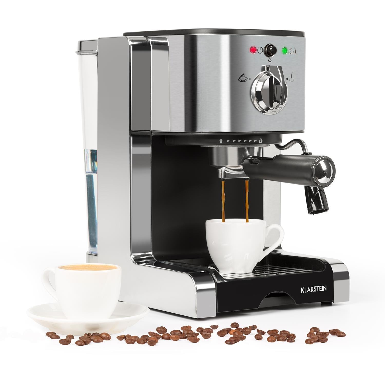 Klarstein Passionata Rossa 20 SS Macchina per espresso 20 Bar Espresso Caffè Potenza 1350 Watt 1, 25 litri (6 tazze) Rilascio automatico della pressione Ugello rimovibile Argento