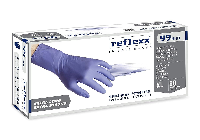 Reflexx R99//L Guantes hi-risk de nitrilo sin polvo Gr. 8.9, talla L, 50/unidades Azul
