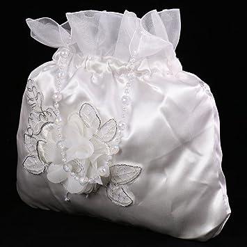 Satin Brautbeutel Hochzeit Braut Tasche Blumenmädchen Handtasche Dolly Bag