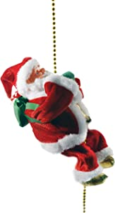 """Haktoys Battery Operated Lovely Climbing Santa Claus Christmas Ornament Present 9"""" Decoration Enjoyable Gift Toy 