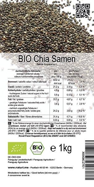 BIO las semillas de Chía («Salvia hispanica»)  3 kg: Amazon.es ...