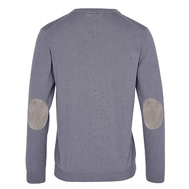 ALLBOW Grauer Herren-Pullover Ellenbogen-Patches, V-Ausschnitt Sweatshirt,  Baumwolle,