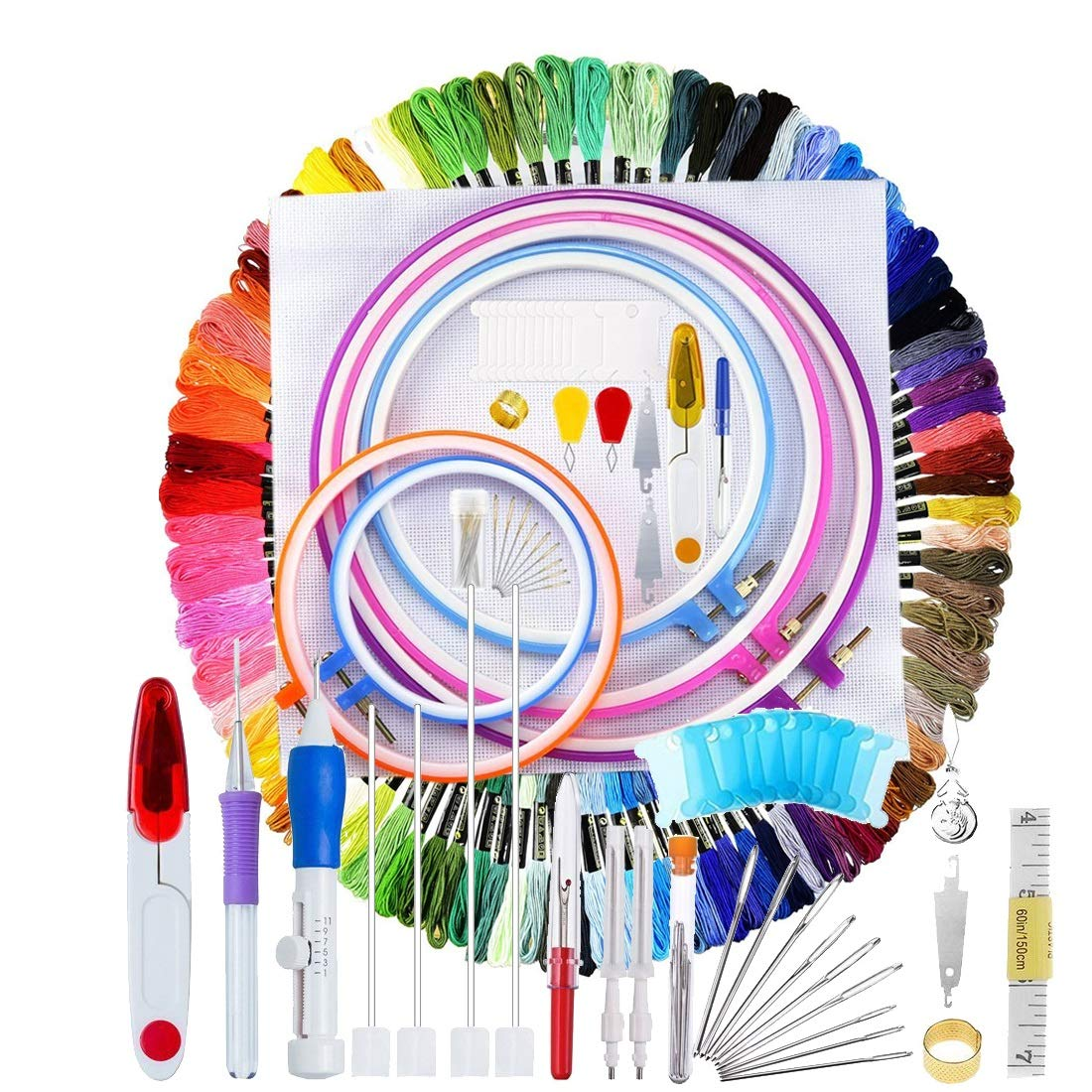 140 Pieces Embroidery Cross Stitching Punch Needle Kit, Full Range of Embroidery Starter Kit Including Magic Embroidery Pen Punch Needle, 5 Embroidery Hoops, 2 Cross Stitch Cloth, 100 Threads EVINIS