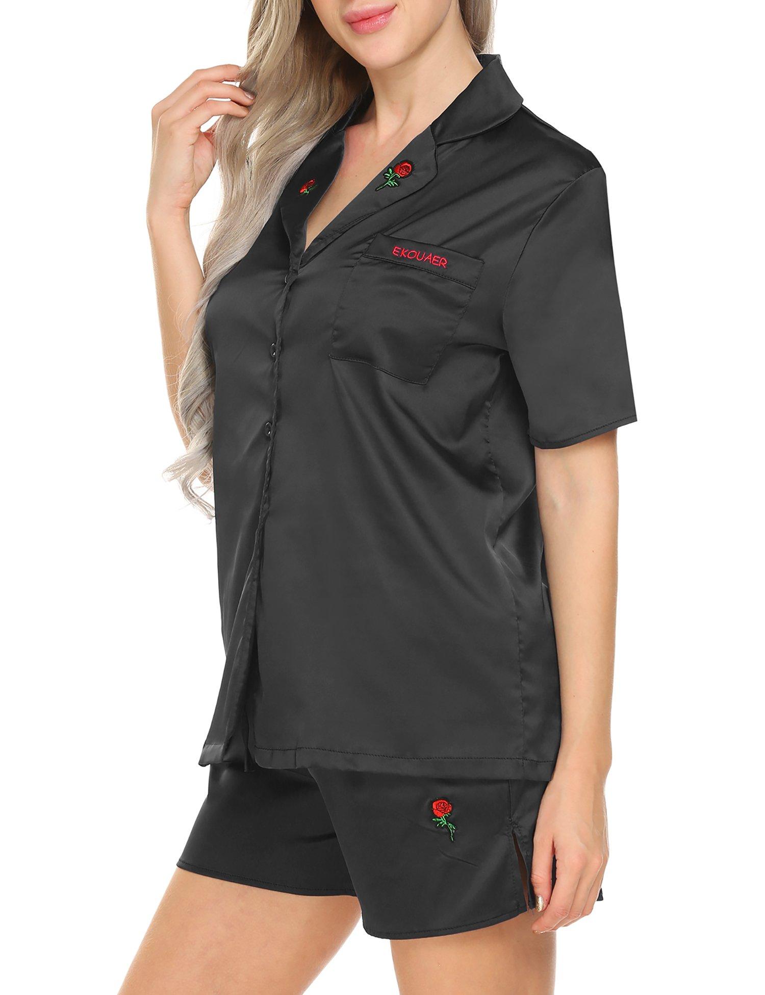 Ekouaer Rose Patchwork Pajamas Set Short Sleeve Sleepwear For Women(Black XL)
