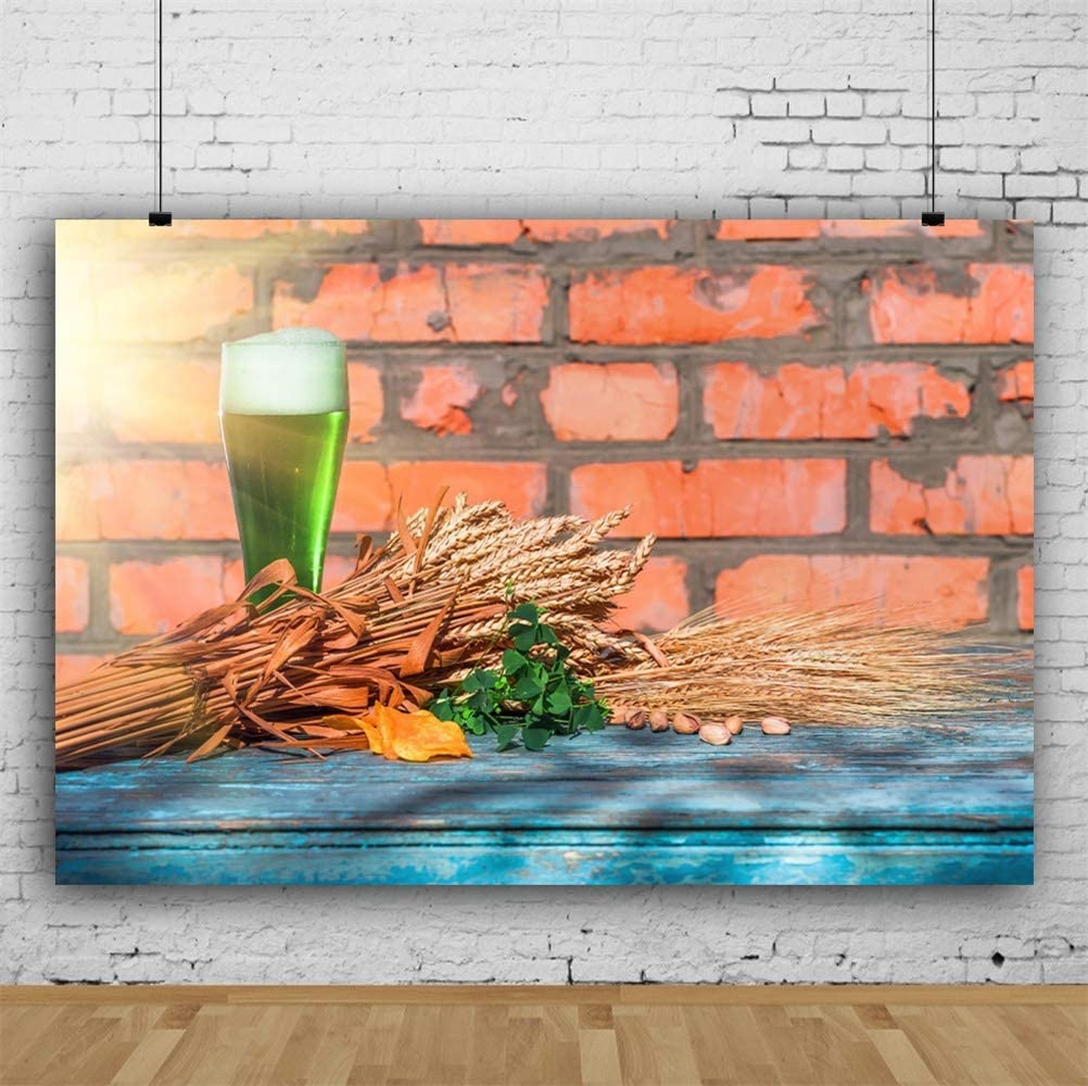 10x6.5ft St.Patricks Day Backdrop Polyester Sunshine Green Beer Clover Nuts Ripe Wheat Rustic Brick Wall Old Blue Wooden Table Background Ireland Traditional Festival Greeting Card Luck