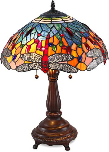 Serena D Italia Elegant Tiffany Style Red Glass Dragonfly Table Lamp, Handcrafted in The Antique Style of Louis Comfort Tiffany
