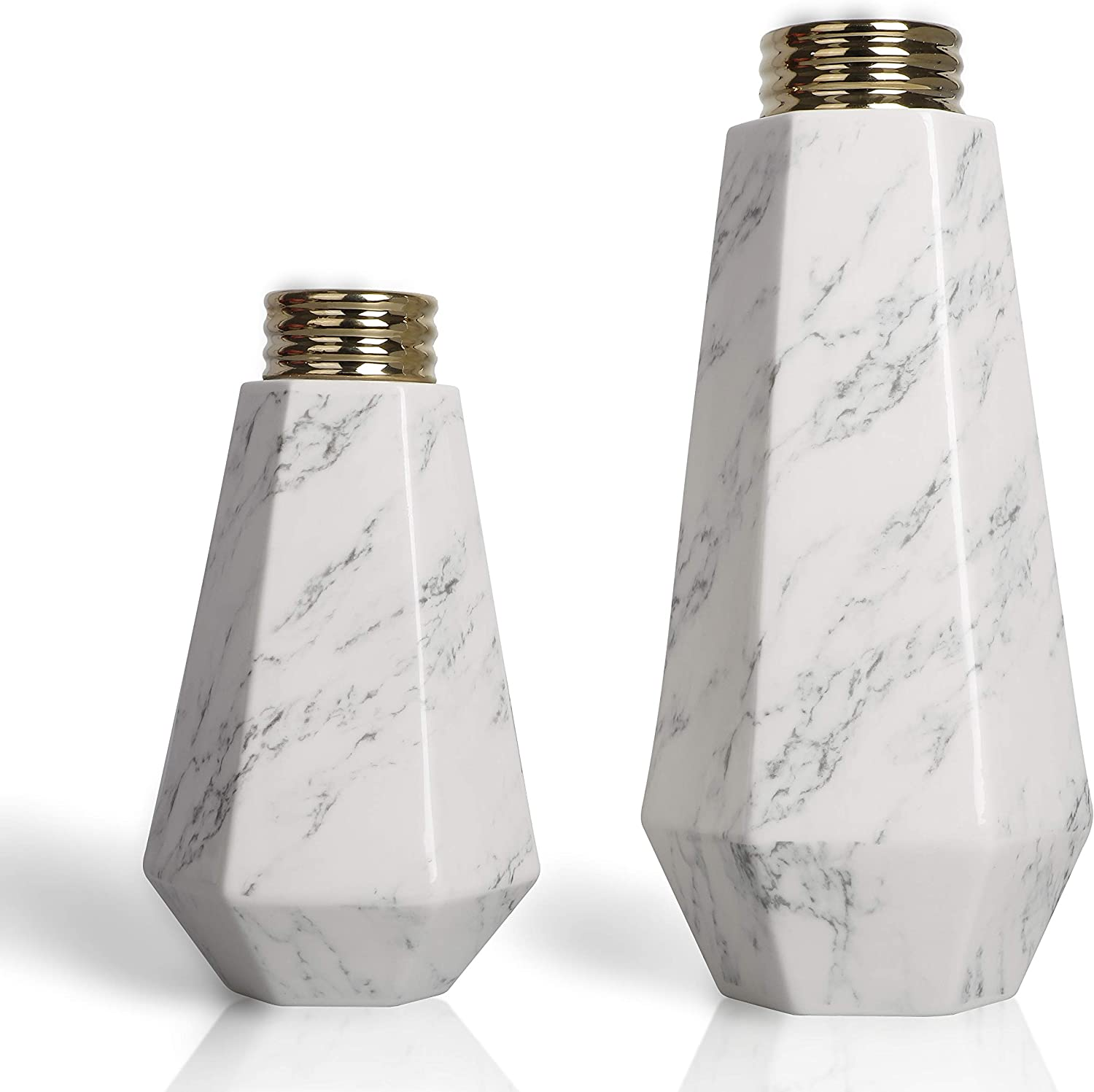 TERESA'S COLLECTIONS Set of 2 Ceramic Modern Flower Vases, Marble Texture with Gold Detailing,Geometric Decorative White Vases for Kitchen,Office,Wedding or Living Room