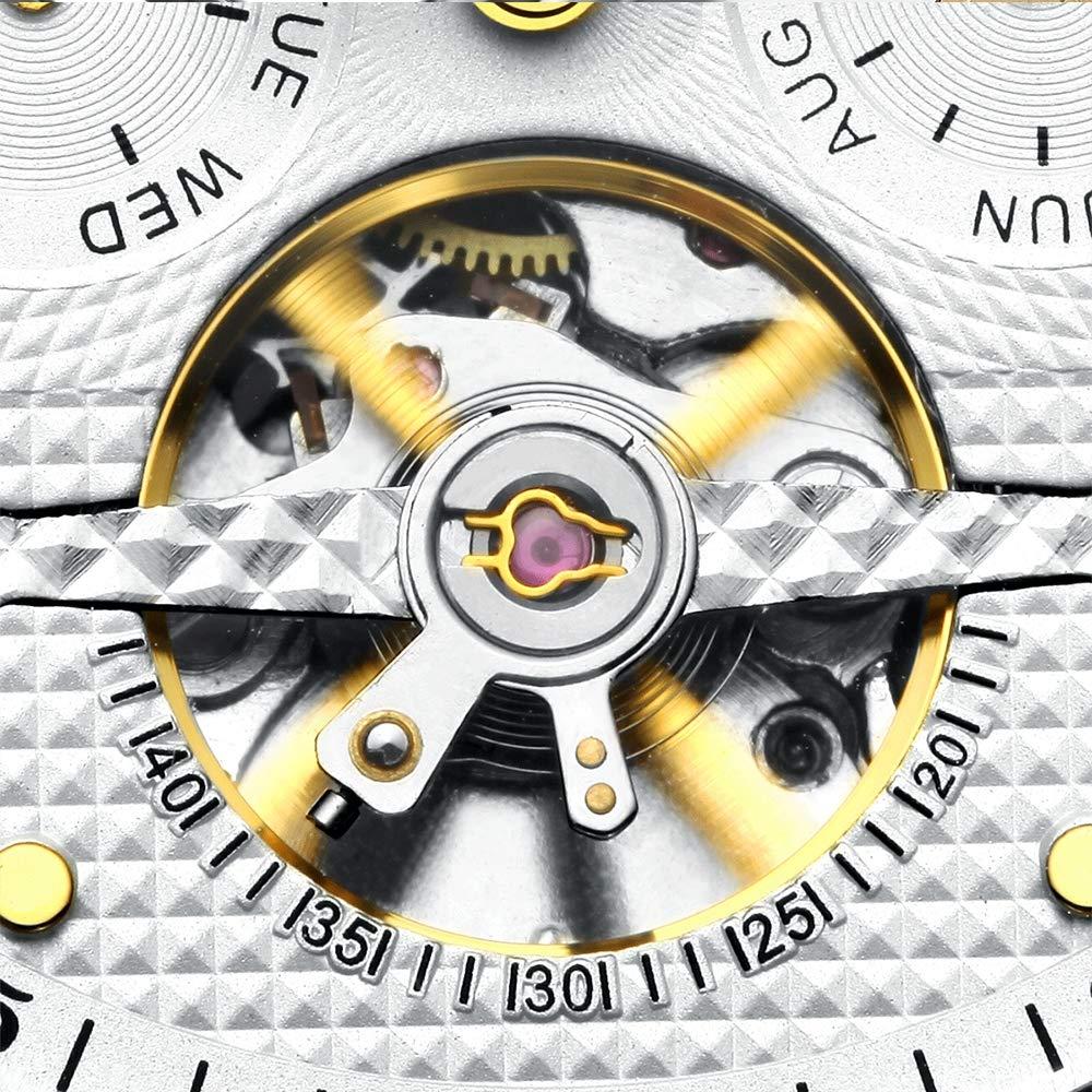 Herrklocka helt automatisk Tourbillon rostfritt stål mekanisk klocka vattentät Svart