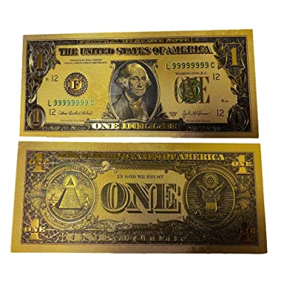 blinkee Premium Replica 1 Dollar Paper Money Bill 24k Gold Plated Fake Currency Banknote Art Commemorative Collectible Holiday Decoration: Toys & Games