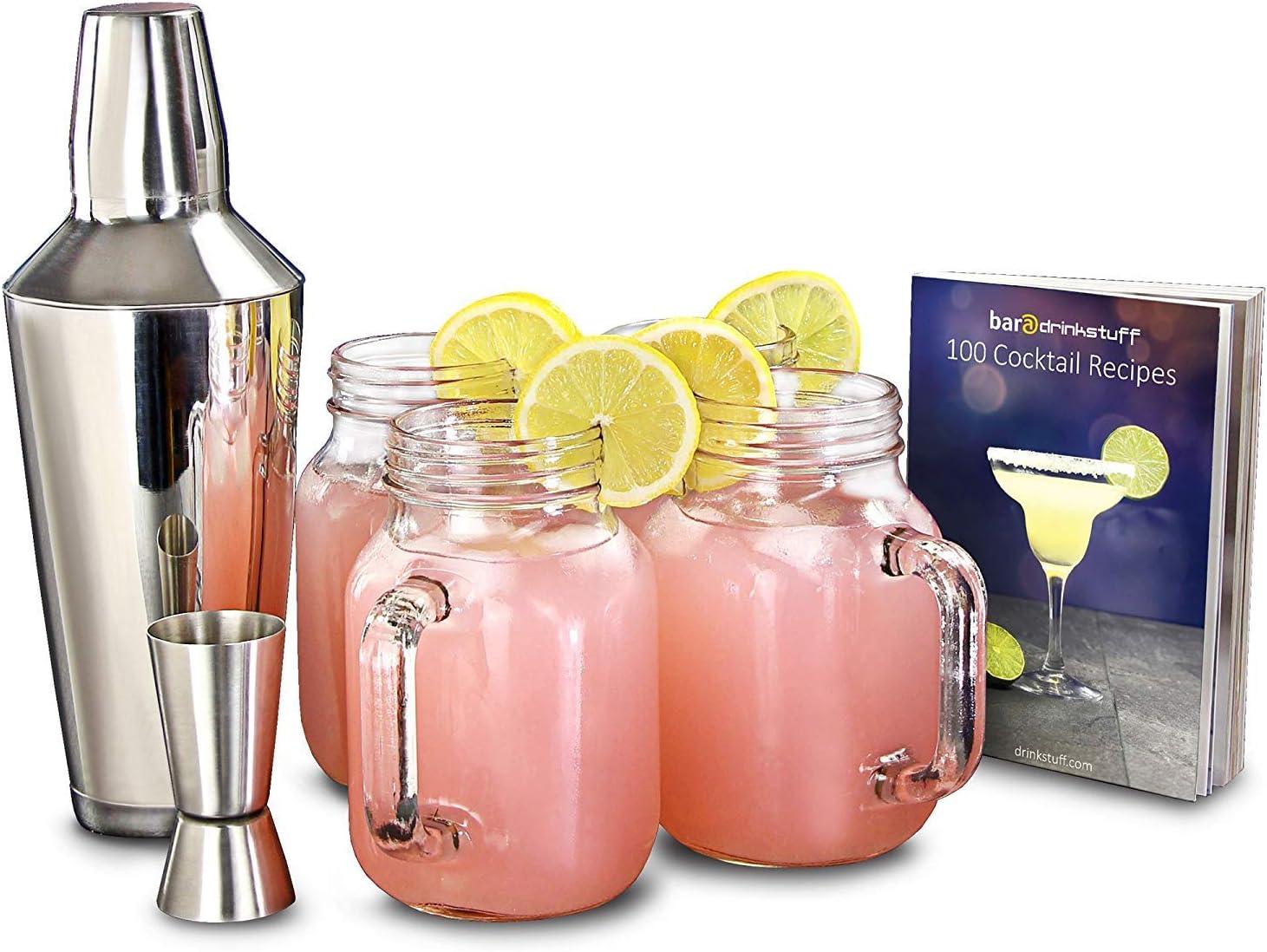 Compra Mason Jar Set - Vintage cóctel que hace el kit incluyendo 4 vidrios del tarro del atasco, coctelera y libro de recetas. en Amazon.es