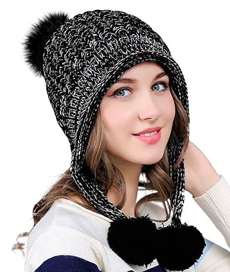 Urban CoCo Women s Winter Cable Knitted Pom Pom Beanie Hat Earflap Caps  (Black) 006784b8c6