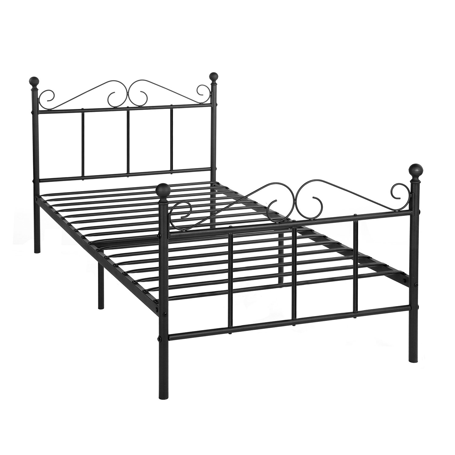 GreenForest Twin Bed Frame Metal Platform Bed with Headboard and Footboard No Box Spring Needed, Black