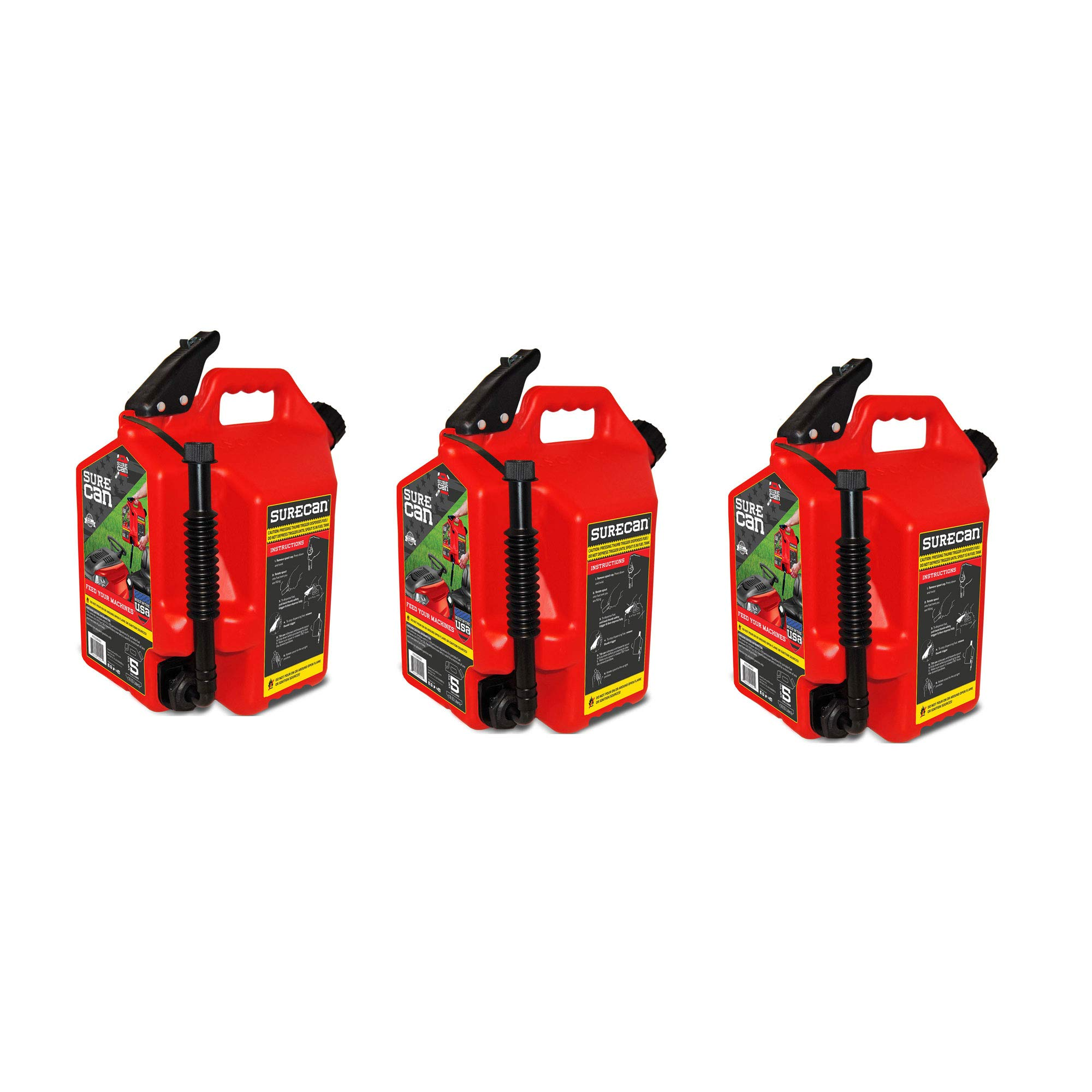 Surecan Self Venting Easy Pour Nozzle 5 Gallon Flow Control Gas Container, Red (3 Pack)