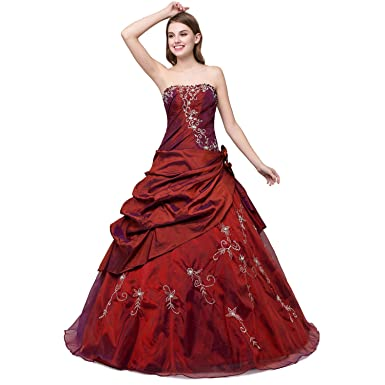 Cloverdresses Long Puffy Prom Dresses Ball Gown Burgundy Quinceanera Dresses (2, Burgundy)