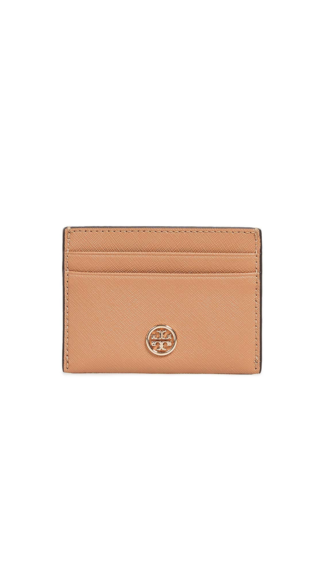 Tory Burch Women's Robinson Card Case, Cardamom, Orange, Tan, One Size
