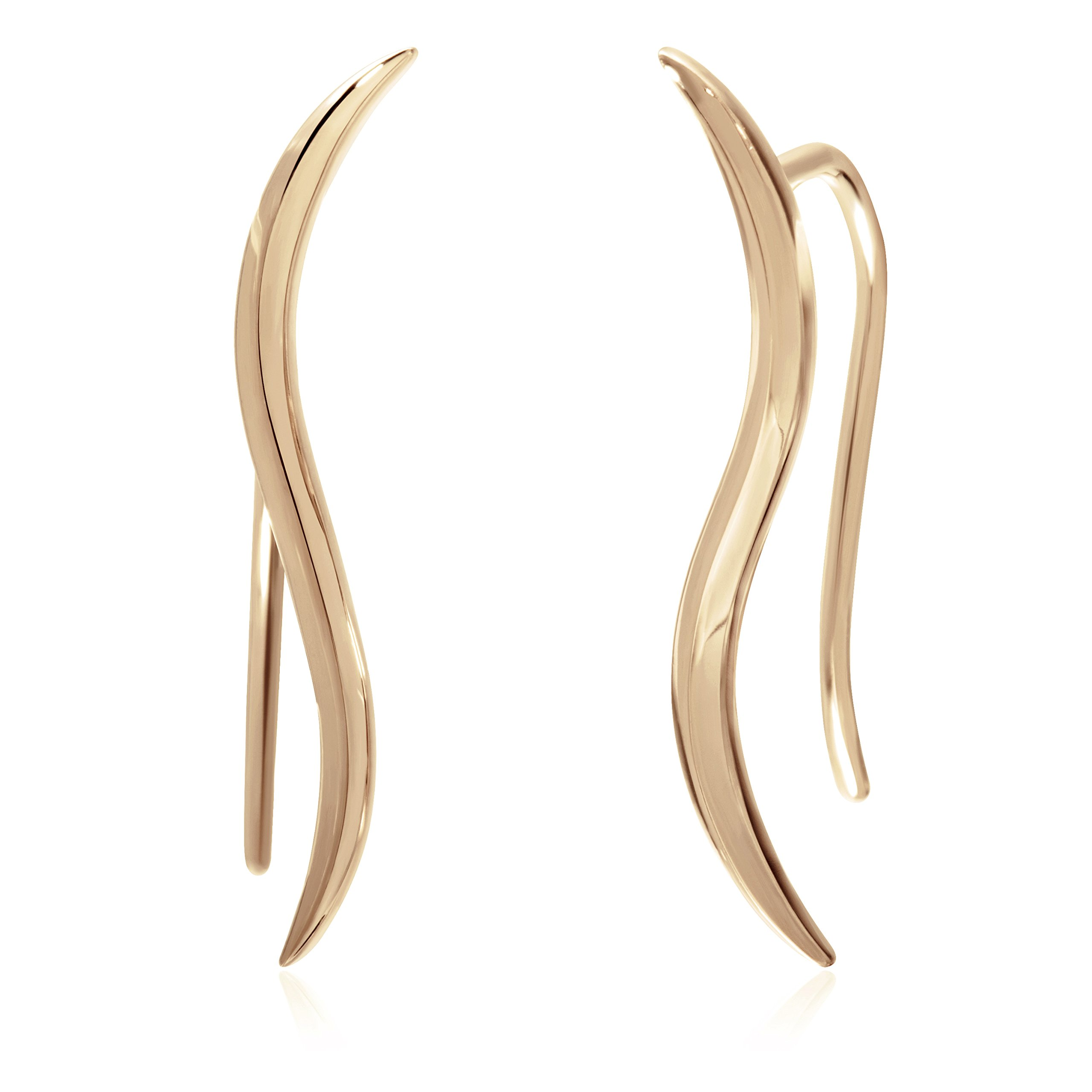 S.Leaf Sterling Silver Ear Crawler Cuff Earrings Minimal Leaf Climber Earrings (Gold)