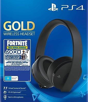 Sony - Gold Black Wireless 7.1 Gaming Headset Fortnite Neo Versa Bundle (PS4): Amazon.es: Videojuegos