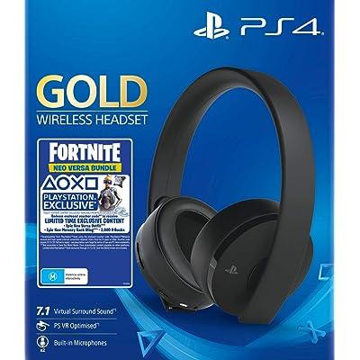 Sony - Gold Black Wireless 7.1 Gaming Headset Fortnite Neo Versa Bundle (PS4)