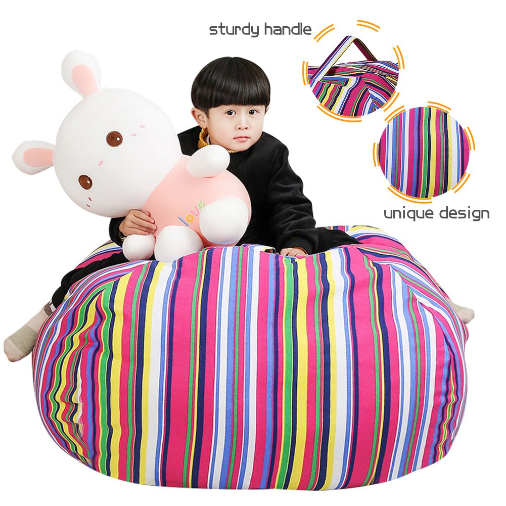 Stuffed Animal Storage Kids' Bean Bag Chair - Cotton Canvas Children's Plush Toy Organizer storage bag, Storage Solution for Plush Toys, Blankets, Towels & Clothes (48'',Colorful stripes) by Lanlin (Image #3)