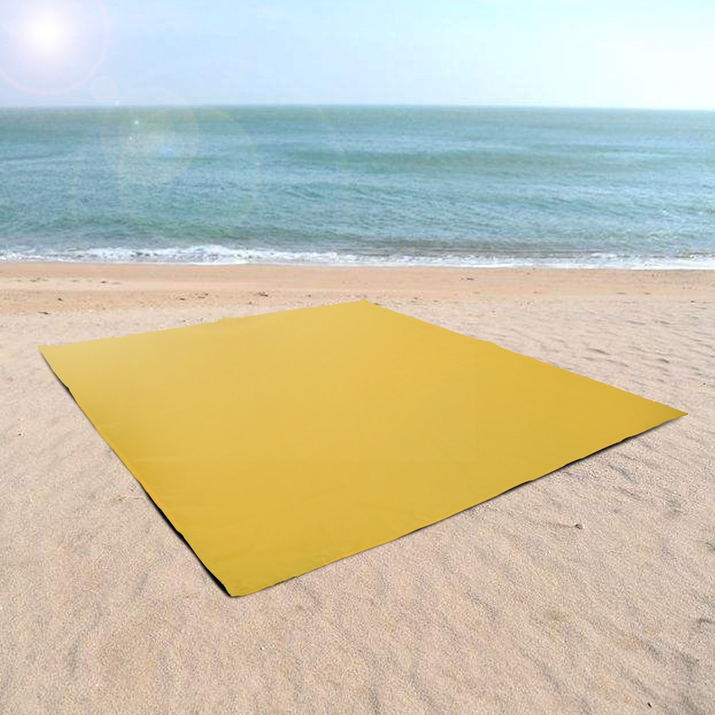 Stanch Bridge Outdoor Beach mat Pocket Blanket 55'' x 60'' - Waterproof Ground Cover, Sand Proof Picnic Mat for Travel, Hiking, Camping, Festival, Sports -Yellow