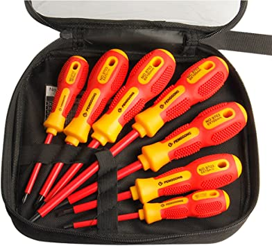 Electrician 7 Piece Insulated Soft-Grip Screwdriver Set Slotted /& Phillips