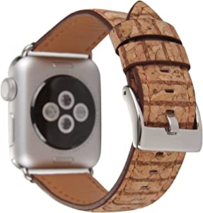 Tearoke Replacement iwatch Band Printing Leather Apple Watch Band with Silver 38mm/42mm Tan