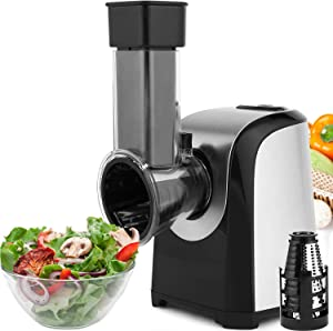 Anfan Professional Salad Maker Electric Slicer Shredder/Graters with One-Touch Control and 4 Free Attachments for Fruits, Vegetables, and Cheeses (Black)