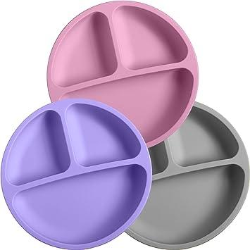Amazon.com: Platos de silicona 100 % para niños | Juego de 3 ...
