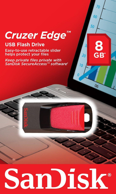 SanDisk Cruzer Edge 16GB USB 2.0 Flash Drive Black SDCZ51-016G-B35