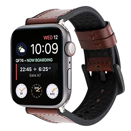 b213183c3754d WONMILLE Leather Band Compatible with Apple Watch 38mm 40mm 42mm 44mm,  Leather Silicone Skin Strap Replacement for iWatch Series 4 Series 3 Series  2 ...