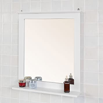 Badspiegel Mit Ablage sobuy frg235 w spiegel wandspiegel badspiegel mit ablage