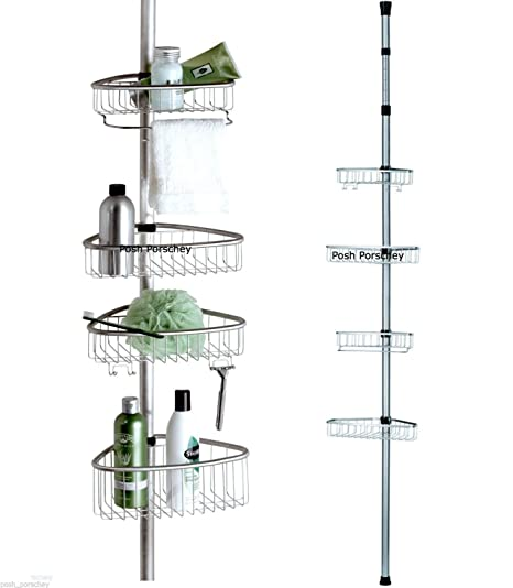 Beau Non Rust Bathroom Telescopic Corner Shelf Storage 4 Tier Shower Caddy  Organiser (Matte Silver)