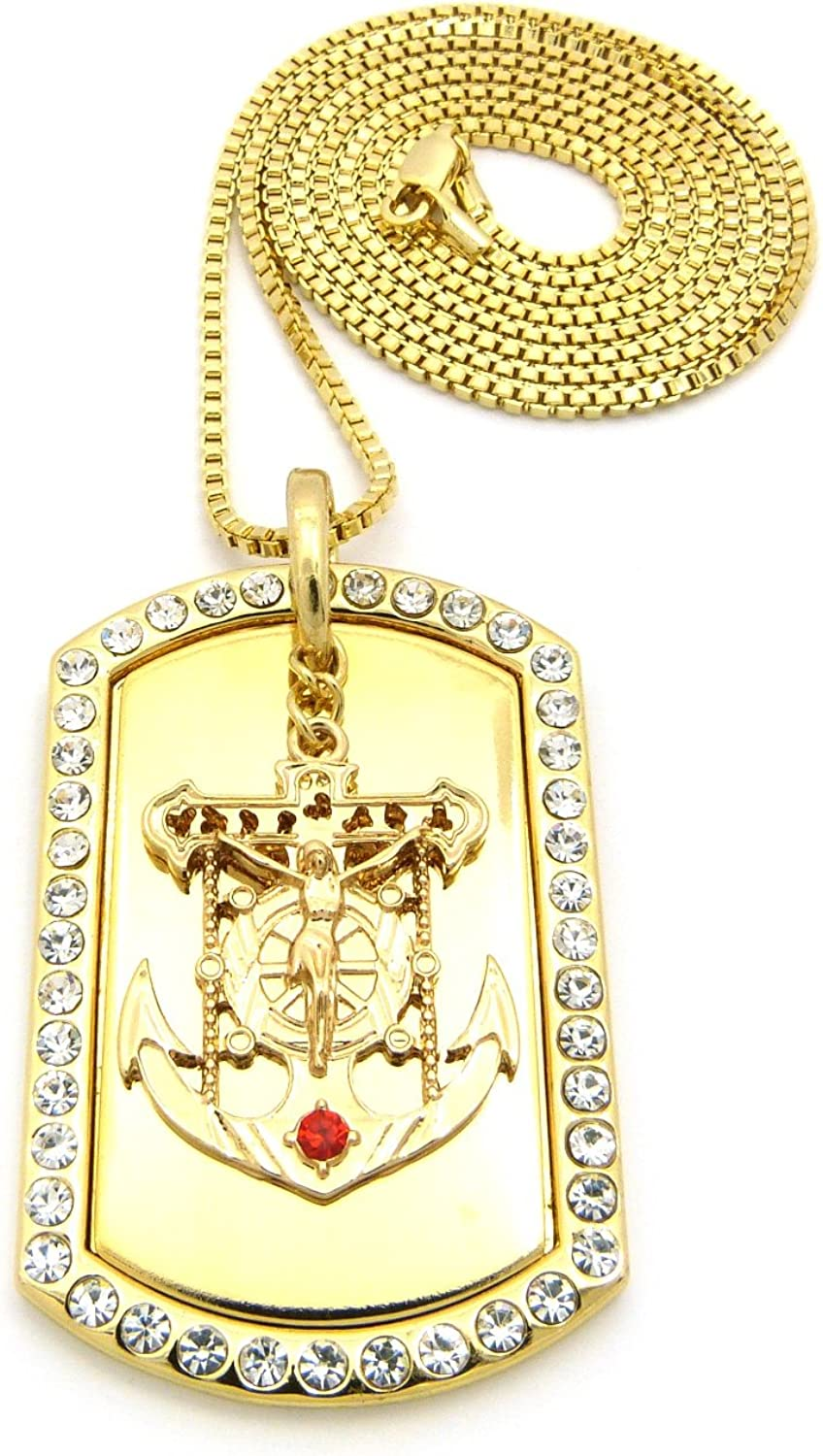 NYFASHION101 Pave Anchor Jesus Cross Piece Dog Tag Pendant 2mm 36 Box Chain Necklace in Gold-Tone