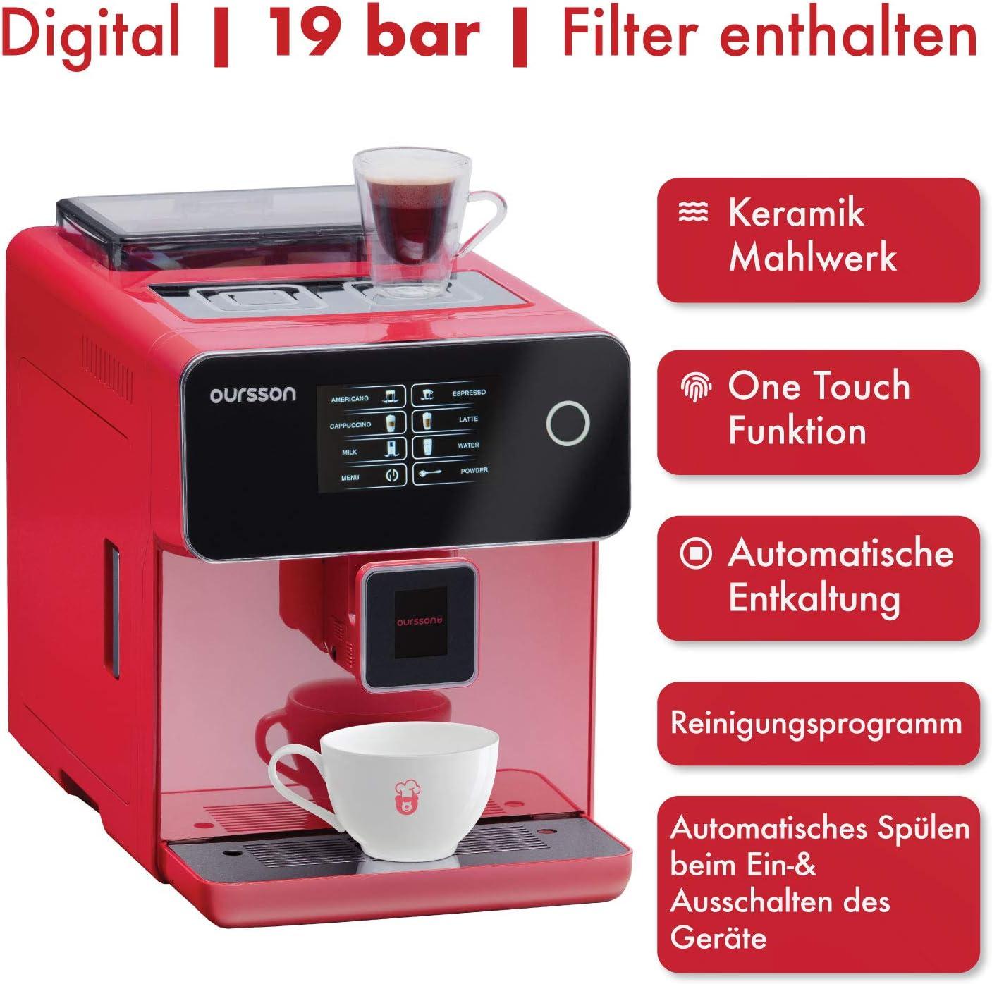 Oursson AM6250/RD - Máquina de café superautomática, molinillo de ...