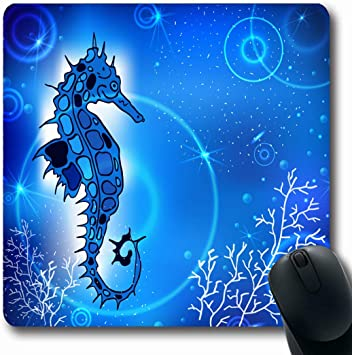 Alfombrillas de Tatuaje Azul Pintura Abstracta Caballo de mar ...