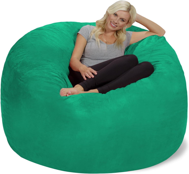 Chill Sack Bean Bag Chair: Giant 6' Memory Foam Furniture Bean Bag - Big Sofa with Soft Micro Fiber Cover, Tide Pool